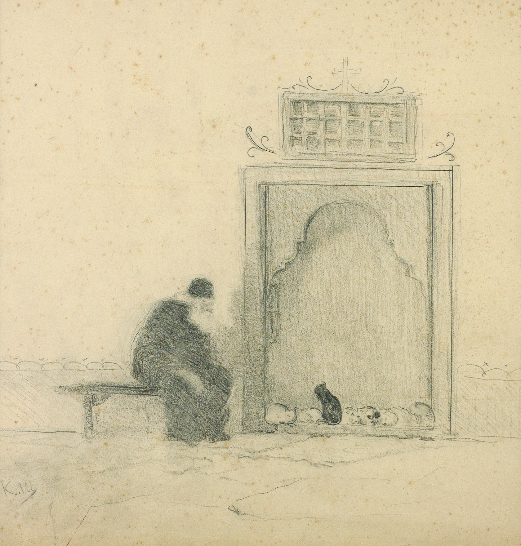 Monk with cats