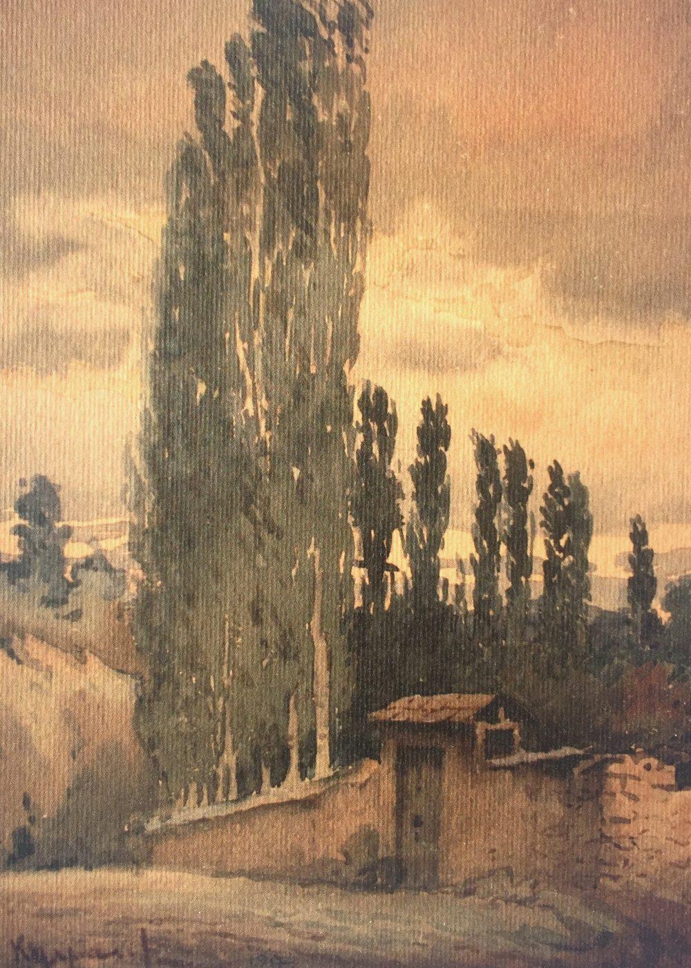 watercolour near the monastiry leshok
