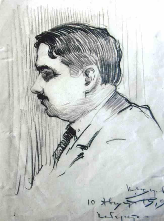 portrait from 1919 , signed, cabarett